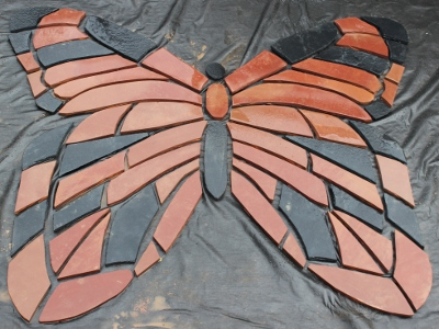 adult male red admiral butterfly in sandstone pattern 2x2.5m