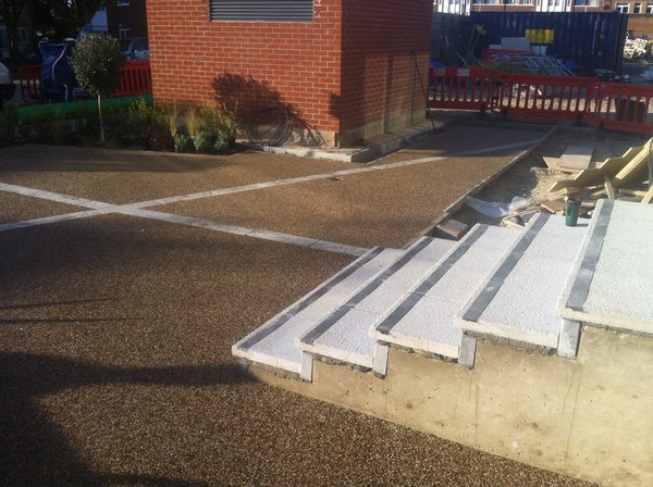 brown resin path between border slabs and non slip steps 3