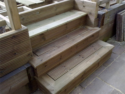 decking steps under construction