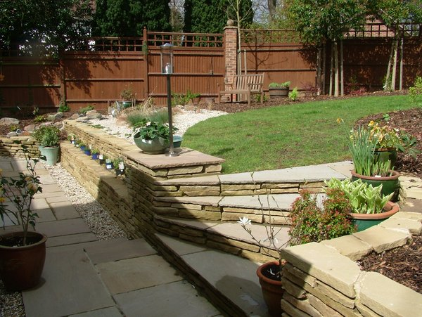 Garden Design York Stone Planted Risers To Woodland Style Plants And Small  Water Course