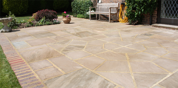 indian sandstone and brick patio nutbourne