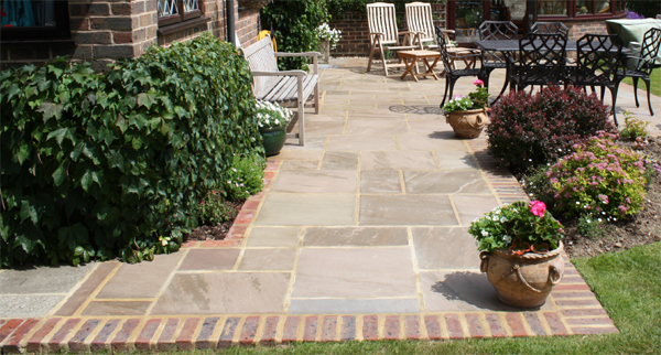 octagon pattern indian sandstone patio brick edge nutbourne