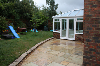 patio horsham indian sandstone with granite edging