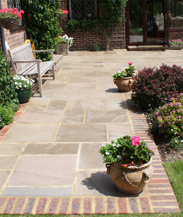 Garden Design Formal Driveway In Indian Sandstone Brick Edging And Simple  Evergreen Planting Around The Edges All For Low Mantenance