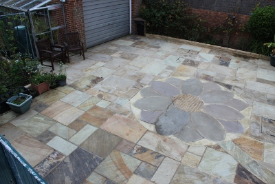 sunflower pattern patio indian sandstone worthing